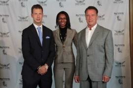 Renata Magalhaes and JT Foxx and Arnold Schwarzenegger